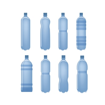Water bottles set for drinking liquids on white.