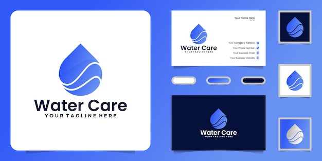 Water care drop logo design and business card