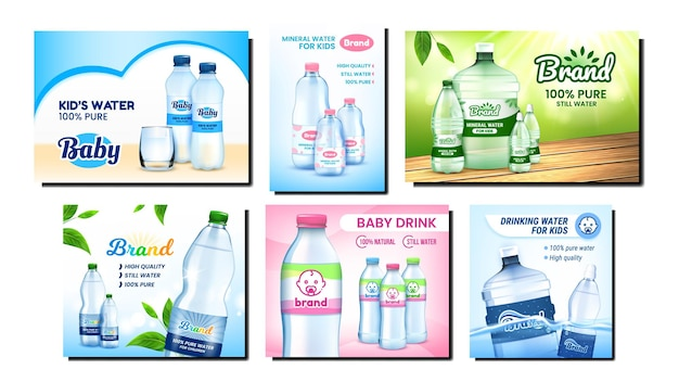 Water for children promotion posters set