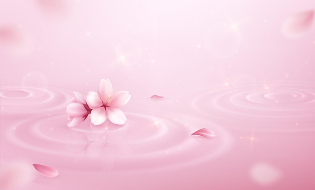 Water circles petals background realistic pink composition with shine and sakura flowers