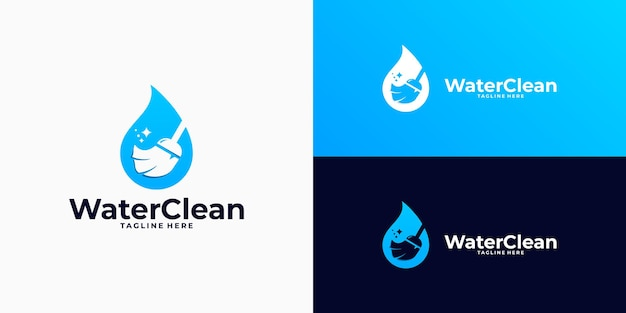 Water cleaning logo combination with broom, brush logo
