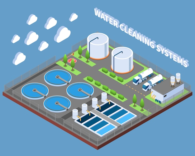 Water cleaning systems isometric composition with industrial treatment facilities and delivery trucks vector illustration