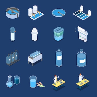 Water cleaning systems isometric icons with industrial purification equipment and home filters blue isolated vector illustration