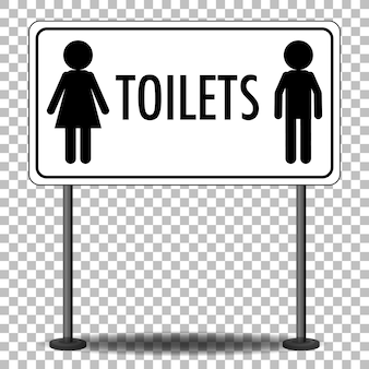 Water closet (wc) sign with stand isolated