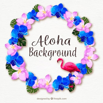 Water color aloha floral background