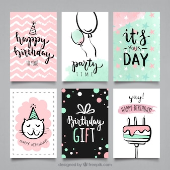 Water color bithday party cards collection