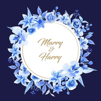 円形のウェディングカードの水彩画の青い花。