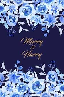 Water color blue flower on top and bottom wedding card.