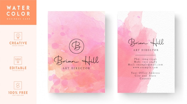 水彩画名刺-ピンクの芸術的な名刺