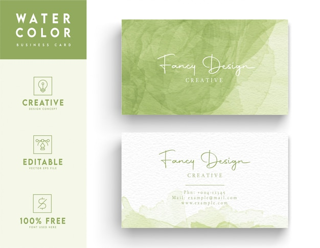 Water color business card template - abstract style water color business card