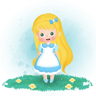 庭で水彩のかわいい女の子。
