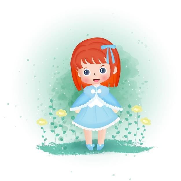 庭の水の色の女の子。