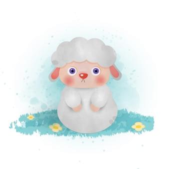 水彩手描きかわいい羊の漫画。