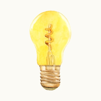 Акварель иллюстрация лампочка