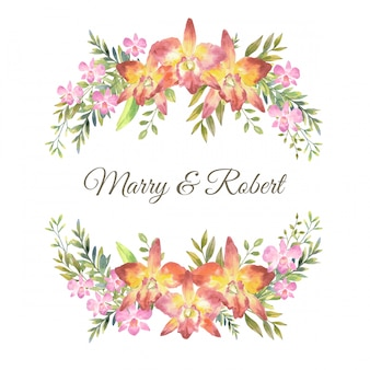물 색깔 분홍색 난초와 상단과 하단, 원형 형식, 그림에 잎 식물 스타일 부케와 카 틀 레 야 난초.