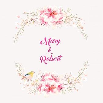 옅은 분홍색 배경 일러스트 레이 션에 녹색 잎과 라임 그린 버드 식물 스타일 꽃다발과 물 색 핑크 복숭아 꽃.
