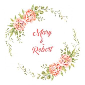 白い背景の図の植物スタイルの緑の葉と水の色ピンクの牡丹。