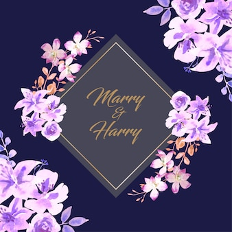 Water color purple flower on the corner, dark blue background wedding card.