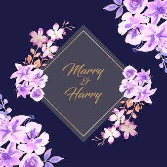 コーナーに水彩紫の花、紺色の背景のウェディングカード。