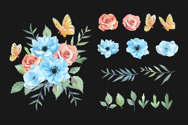 주황색 나비 식물 세트와 수채화 붉은 장미와 푸른 아네모네