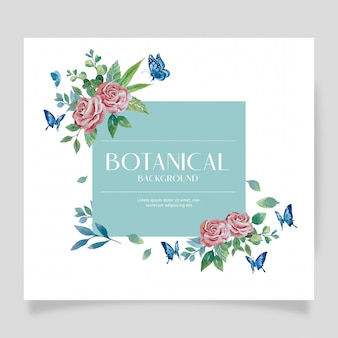 Water color red rose botanical style on corner design with blue butterfly on turquoise background illustration frame