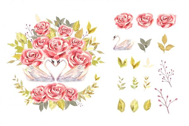 물 색 장미와 백조 격리 된 배열 그림에 식물 스타일에서 녹색 잎 부케와 백조.