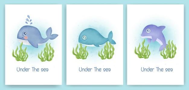 물 색 귀여운 바다 동물들과 함께 베이비 샤워 인사말 카드 세트.