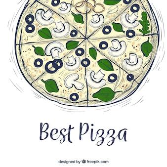 수채화 야채 피자 배경