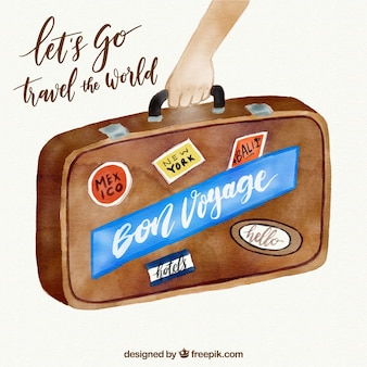 Water color vintage travel background