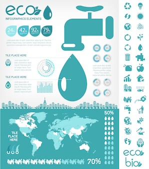 Water conservation infographic template