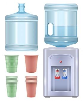 Кулер для воды реалистичный набор иконок. бутылка иллюстрации на белой предпосылке. реалистичный набор иконок кулер для воды.