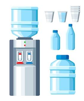 Кулер. закуски и бутылки офисные, пластиковые и жидкие. прозрачные одноразовые стаканчики с большой и маленькой бутылкой для воды. иллюстрация на белом фоне