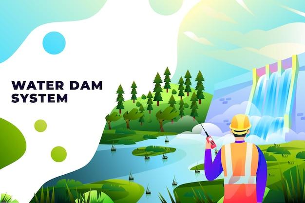 Система водохранилищ - векторные иллюстрации