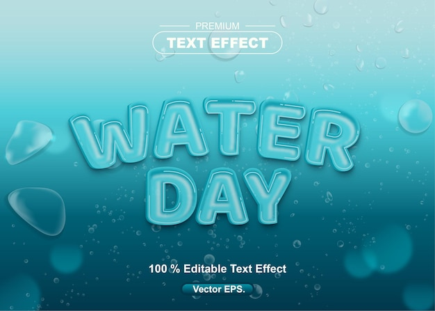 Water day editable text effect