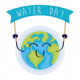 Water day illustration with happy world planet earth character