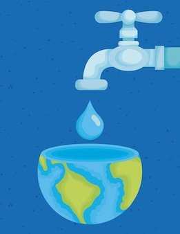 Water day illustration with tap and world planet in drop
