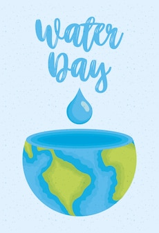 Water day illustration with world planet earth