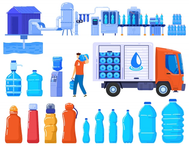 Water delivery bottles, business service logistic industry, plastic contaners and truck of drink water set of  illustration.