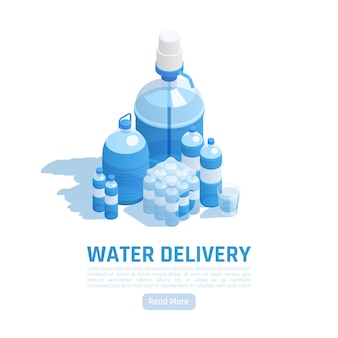 Water delivery isometric illustration with editable text and set of bottles of different shape and size