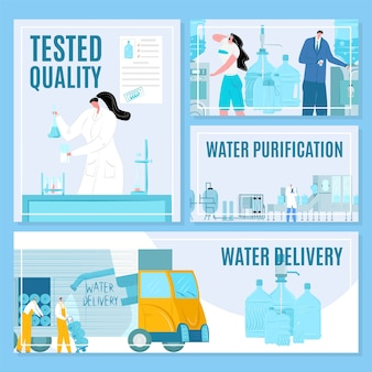 Water delivery and purification process  illustration banners set. testing and packaging bottles for drink. water industry. workers with blue plastic gallons, cooler. fresh beverage industry.