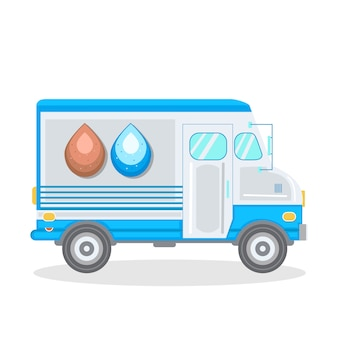 Water delivery service car vector illustration