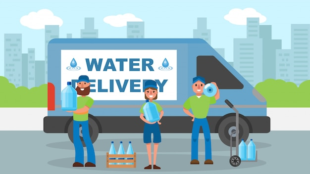 Water delivery service, courier near bottle at cargo  illustration. man woman worker character shipping water for company.