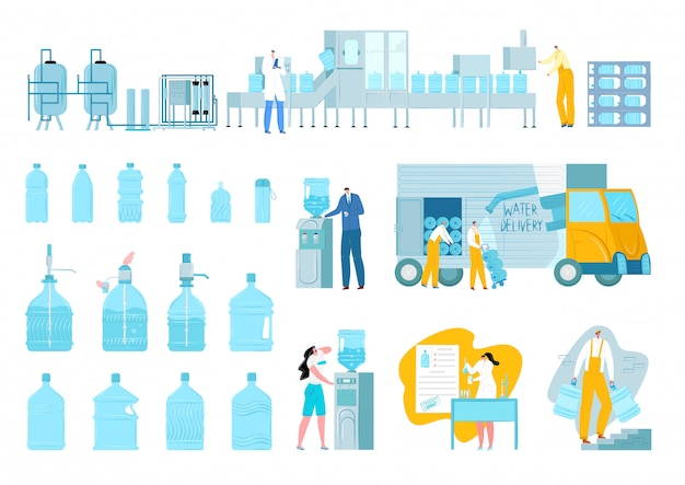 Water delivery set, plastic bottles, gallon, blue fresh drink  illustrations. watering plant, workers, deliveryman and aqua truck, cooler. canisters and watered containers of healthy beverage.