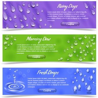 Water dew and falling drops horizontal banner set