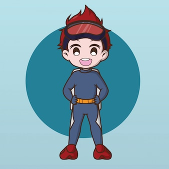 Симпатичный дизайн персонажа water diver