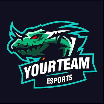 Water dragon mascot gaming logo