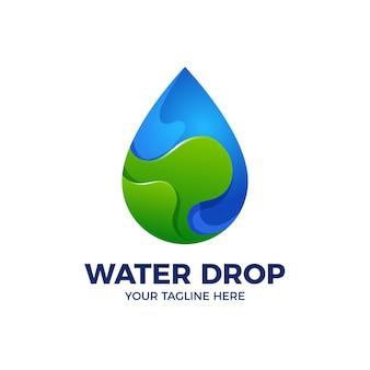 Шаблон логотипа 3d градиент капли воды
