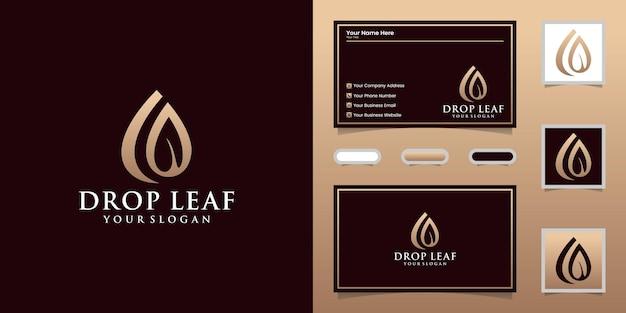 Капля воды и логотип листа и визитная карточка