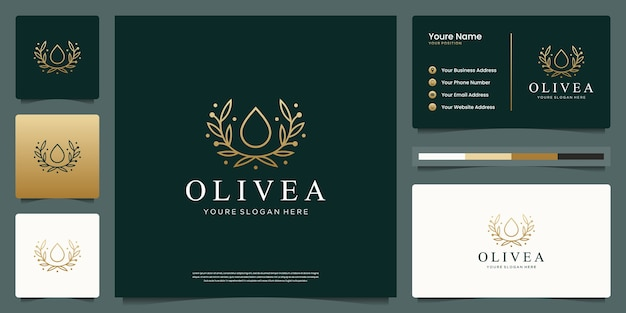 Water drop and branch tree line art style. luxury logo and business card design.