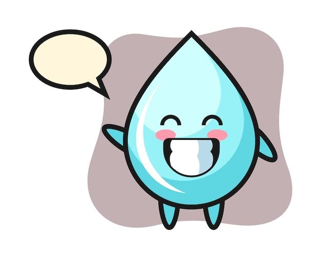 Мультипликационный персонаж капли воды делает жест рукой волны, милый дизайн стиля для футболки